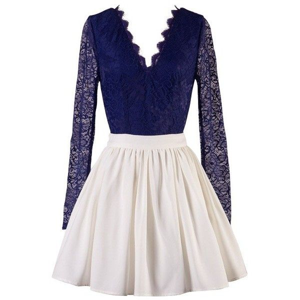 Navy Blue and White Long Sleeve Lace Skater Dress ($49) ❤ liked on Polyvore featuring dresses, short dresses, navy blue lace dress, lace mini dress, navy lace dress, long sleeve dress and skater dress