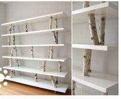 if we did the tree theme in the playroom this would be a cute theme for shelves. Could probably do with the shelves we have now