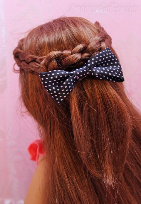 Doll Hairstyle: Half-Up Tied Braids! - http://www.americangirlfan.com/2014/07/american-girl-doll-hairstyle-half-up-tied-braids.html