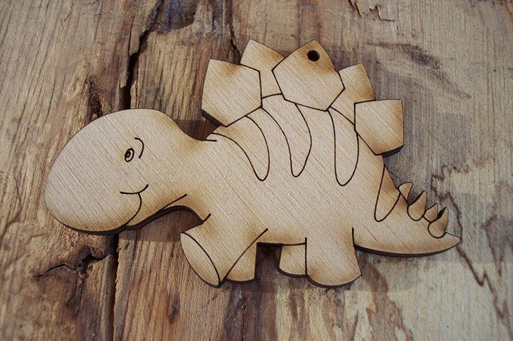 2 pieces Wood Dinosaur design Plywood 4 mm Unfinished by GreekArt