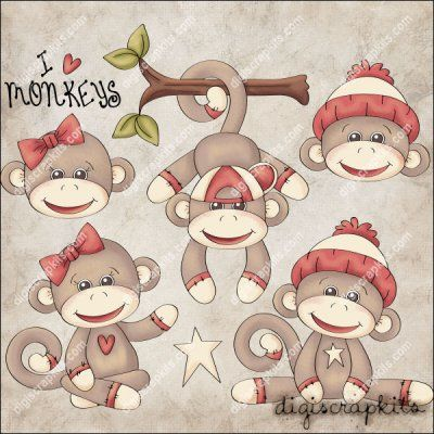 Monkey Business 1 Clip Art Set