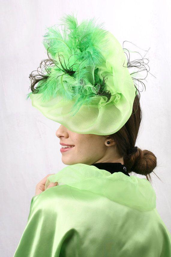 Mint green headpiece derby fascinator hat by Irina Sardareva Couture Millinery