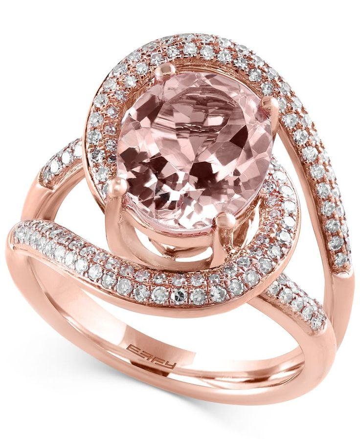 Blush By Effy Morganite (3-1/4 ct. t.w.) and Diamond (1/2 ct. t.w.) Ring in 14k Rose Gold