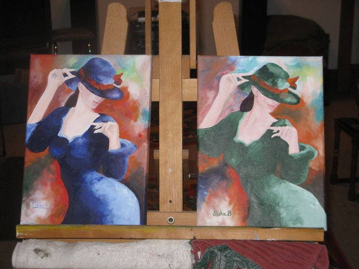 Lady in Blue and Lady in Green. These two little paintings I did to practice working wet on wet. The Lady in Blue was a picture on a calendar I have by a local artist. Good practice studying more experienced artists and their styles :-).