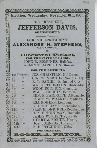 jefferson davis elected president of confederacy date