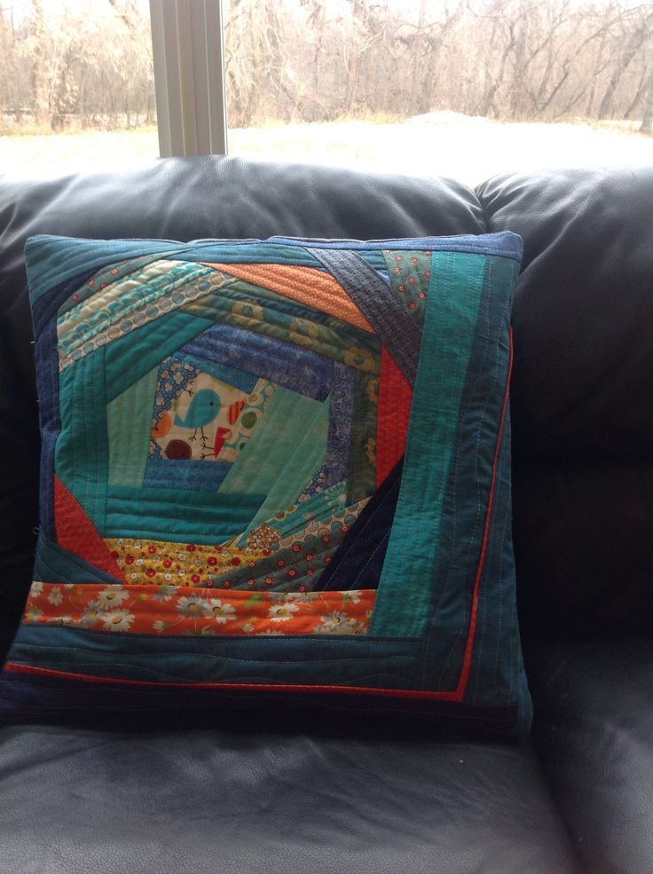 My first pillow! QAYG (quilt as you go)