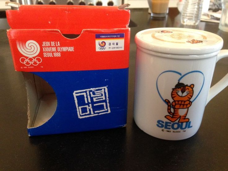 1988 GAMES OF THE XXIV OLYMPICS SEOUL OFFICIAL SIGNED COVERED COFFEE MUG IN BOX    eBay