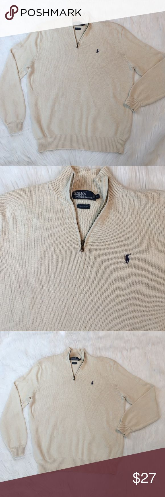 L Men's Cream Zip Pullover Polo RL Preowned no flaws 100% cotton Polo by Ralph Lauren Sweaters Zip Up