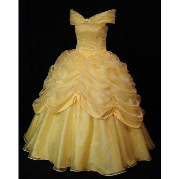 Beauty and the Beast Belle Classic Yellow Gown ❤ liked on Polyvore featuring dresses, gowns, disney, vestidos, beauty and the beast, yellow evening dress, stitching dresses, yellow ball gown, disney dresses and brown gown