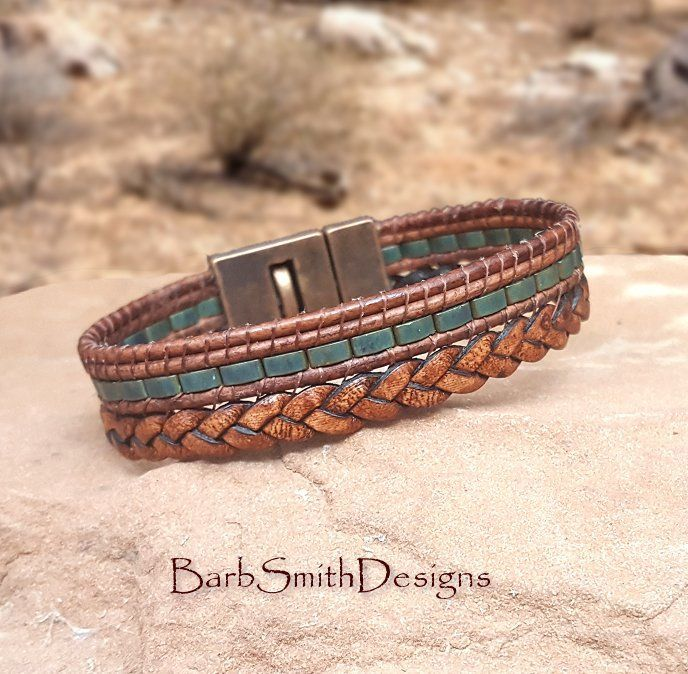 Brown braided leather bracelet with Patina Half-Tila beads and masculine antique…   – Bracelets