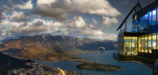 Stratosfare Restaurant | #views #travel views over Lake Wakatipu and the Remarkables. Here, the pun-tastic Stratosfare Restaurant & Bar dishes up tasty New Zealand cuisine with an international twist. Try the fresh South Island green-lipped mussels, or perhaps the locally-sourced sashimi.
