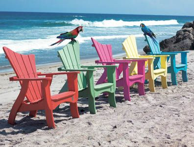 These are really fun colors and the shape of the back looks very interesting.Beach Chairs, Adirondack Chairs, Beach House, Waves Chairs, Colors, Outdoor Chairs, Atlantic Beach Nc, Patios, Furniture