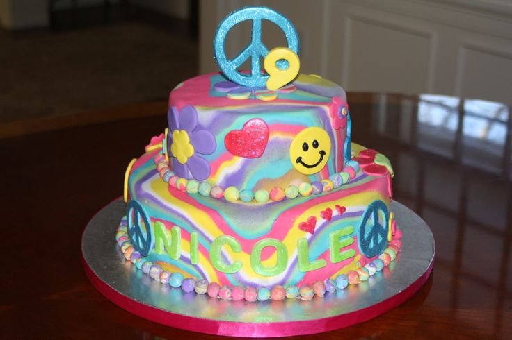 9year+old+birthday+cupcakes | Tie Dye cake for 9 year old girl who is mad for anything hearts ...