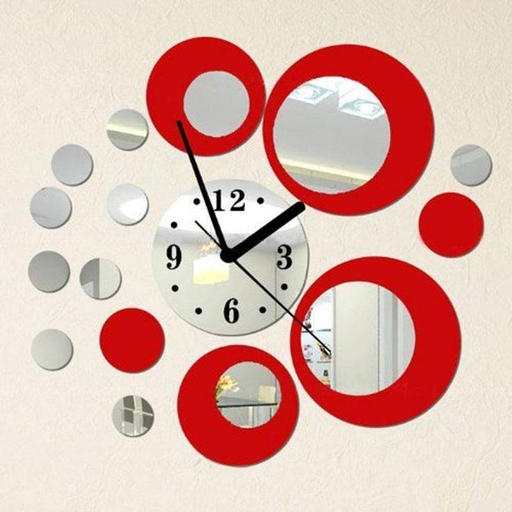 Новинка! ♥ Зеркальные настенные часы • Произвольный дизайн – стикеры на стену ♥ 410 руб.