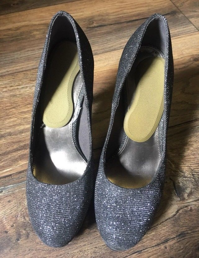 efe790d6836 Fioni Night Black Grey Glitter Pumps Platform High Heel Stilettos ...