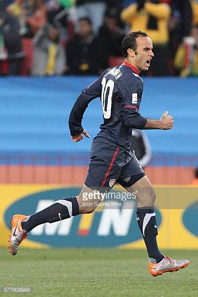 Landon Donovan celebrates his goal The Slovenia National Team tied the United States National Team 22 at Ellis Park Stadium in Johannesburg South...