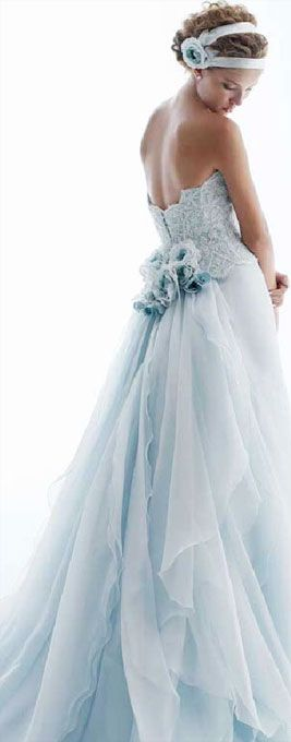 Blue Wedding Dress. ~ Beautiful Unique Ball Gowns, couture, wedding, bridal, bride, dress, fantasy, flowers, flower, floral, flora, fairytale, fashion, designer, beautiful, stunning, prom dress, ball gown, Cinderella, Princess, satin, lace, velvet, bodice, vintage, Marie Antoinette, fashion, dress, dresses, elegant, sweetheart, corset,