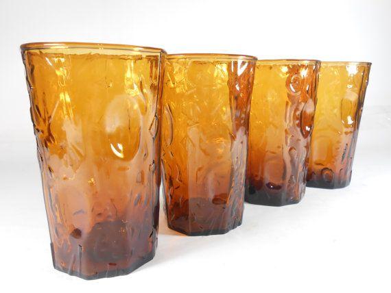 Amber Glassware Set Trinkgläser Brown Orange Tree Bark Textured Glass   – Amber glassware and Carnival Glassware