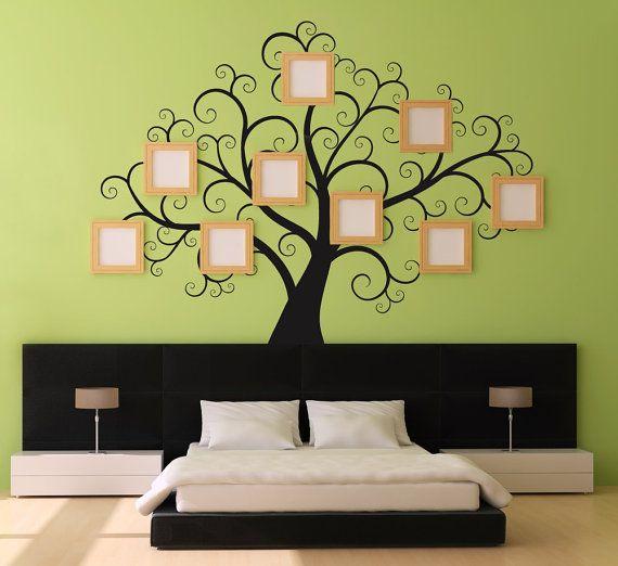 Adesivi di Swirly TreeWall grande Decal per camere da letto albero genealogico disegni bastone su Wall Art di DecalIsland-genealogici disegni Decal SD 008