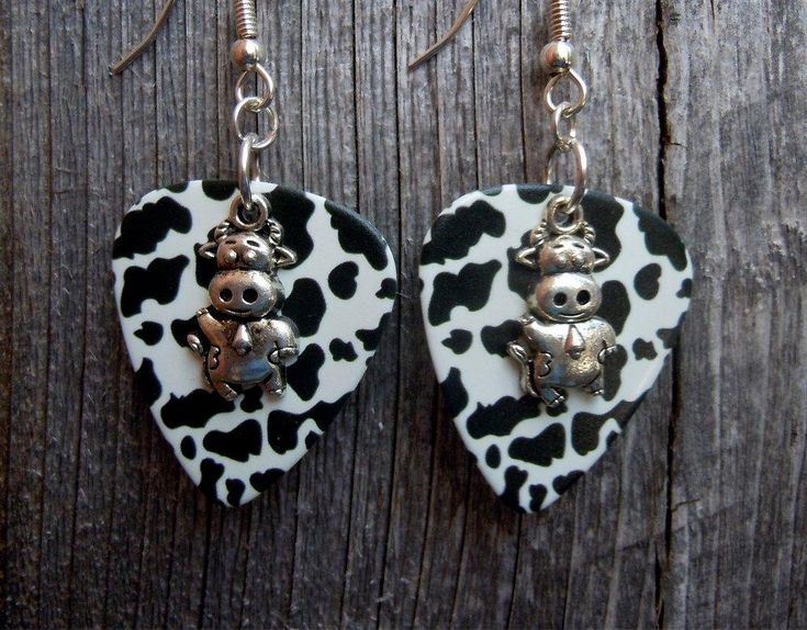 Small Cow Charm Guitar Picks Earrings - Pick Your Color