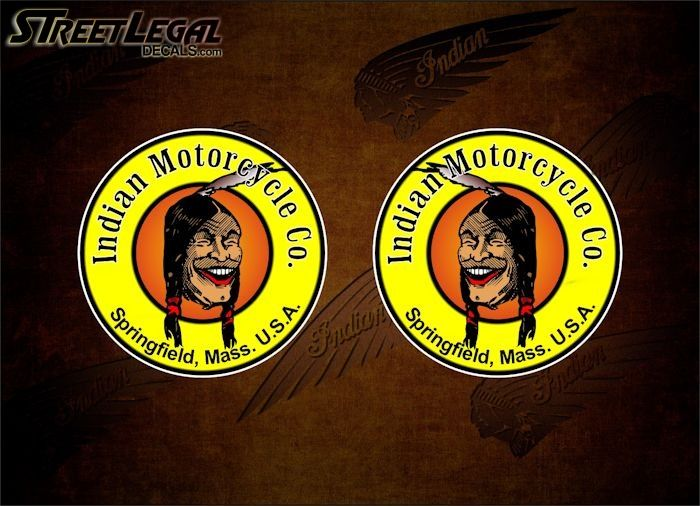 2 Laughing Indian Motorcycle Vinyl Decals