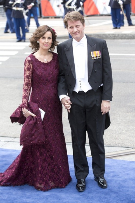 Prince Pieter Christiaan, and Princess Anita of the Netherlands, arrive at the Nieuwe Kerk in Amsterdam for the inauguration ceremony of King Willem Alexander of the Netherlands on 30 April 2013