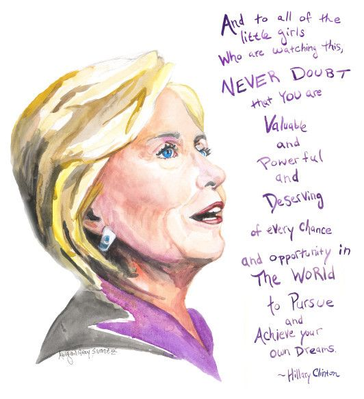 Hillary Clinton's gracious and inspiring concession speech really struck a chord with me. I wanted to paint this quote for little girls (and the older ones as well), to hang on their walls as a remind