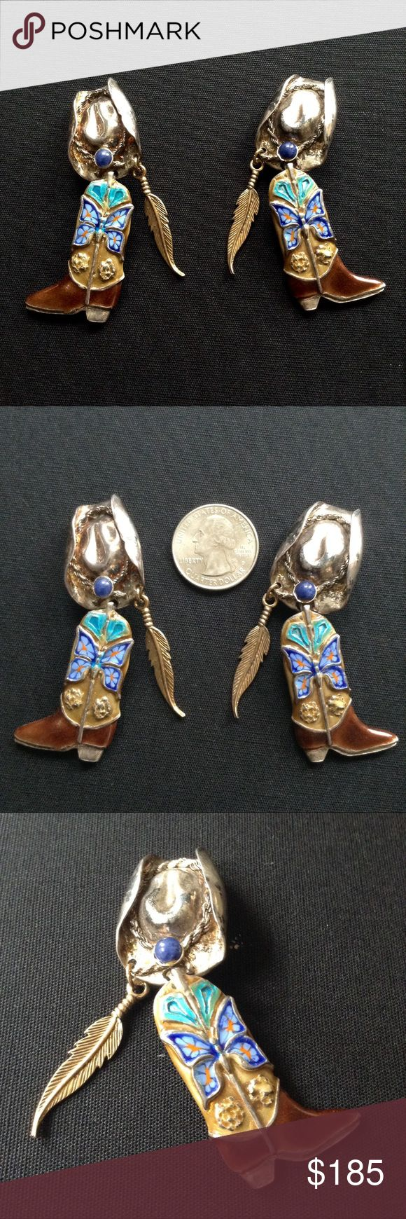 Vintage Sterling Southwest Cowboy Earrings 1980's over the top Southwest themed Earrings. Handcrafted mixed metals and techniques. Impeccable workmanship. Colorful email on the articulating boot with a super blue & orange butterfly. Carved Sterling silver cowboy hat with twisted silver and blue jasper stone. Embellished with an embossed brass feather. Clip ons 22g each. Stampd Sterling with artist's Hallmark a big cursive capital A. Can't make out the name. Please let me know if you know the…