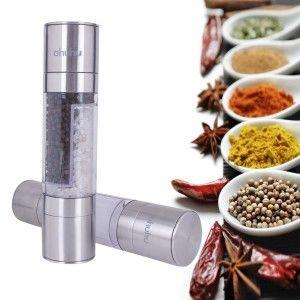 Must Have Kitchen Gadgets:Ohuhu® 2 in 1 Salt & Pepper Grinder Set, Pepper Mill with Salt Grinder, Ceramic Grinding Mechanism with Sleek Stainless Steel Ends, Elegant Look & Durable 2 Shakers in 1