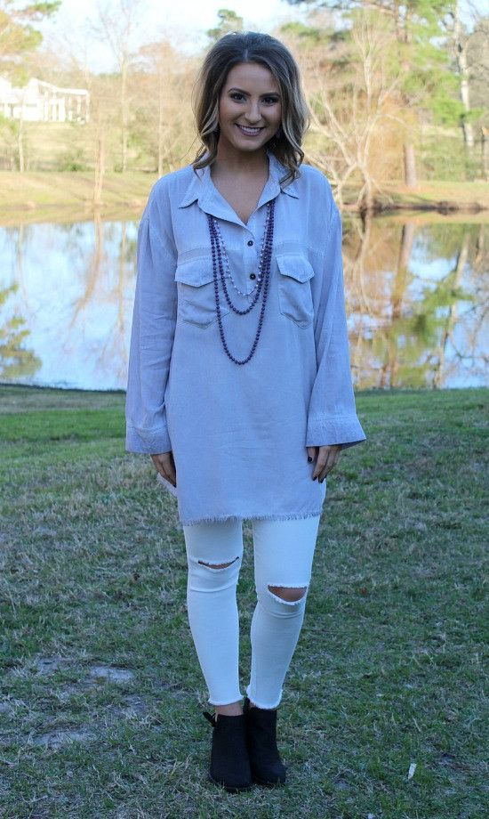 All In Favor Long Sleeve Tunic in Lavender – Giddy Up Glamour Boutique