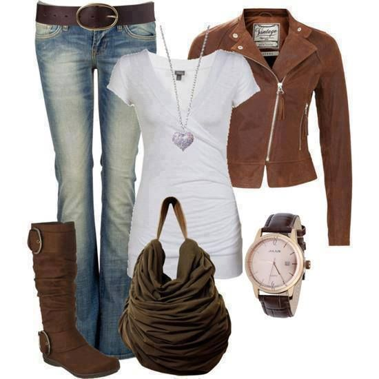 Cute fall outfit! - tee, jeans, boots, leather jacket