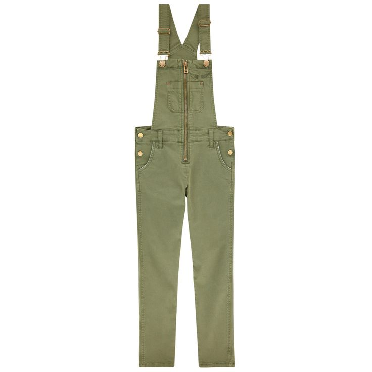 Stretch twill weave Super stretch Overalls Skinny fit: slim fit with very tight legs Fitted cut Ajustable straps Front and back pockets Clip straps on the chest Snap buttons on the sides Zipper on the chest Embroidered brand - $ 103.20