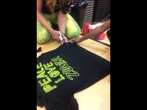 oooooo..... How to cut a One Shoulder Zumba Tank from an oversized T-shirt.   ummmmm....yes!