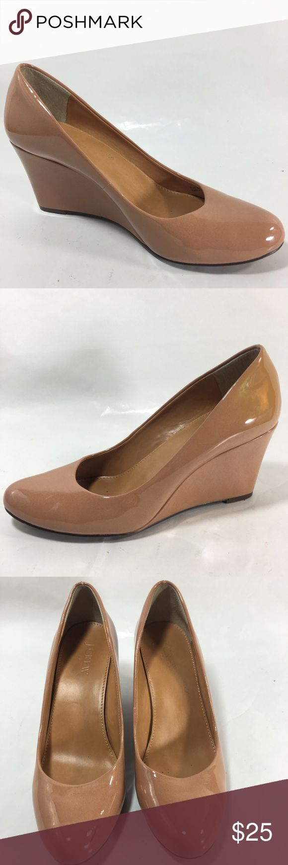 "J. CREW Nude Patent Leather Round Toe Wedge Pump J. CREW Nude Patent Leather Round Toe Wedge Pumps-    Women's Size: 7 Color: Nude Materials: Patent Leather  Style:  Wedge pumps, round toe, slip on Heel: 3"" Heel, no platform Good pre-owned condition  - other then slightly scuffs on both shoes and on tip of the right side and color faded outside heels areas  see the last two pics.  Please view photos for details and these are part of the description and contact for additional questions…"