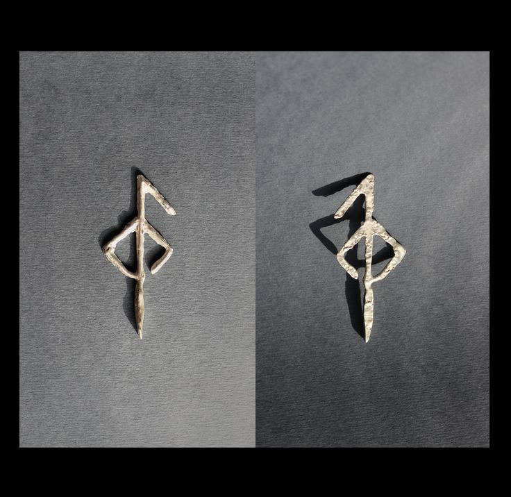 """Earring for a flesh tunnel made from sterling silver """"second bindrune shows another step in the evolution from primordial to modernity. This element is the transition between roughness and smoothness and lightness of texture next bindrune."""" Meaning behind the earring: #regeneration #healing"""