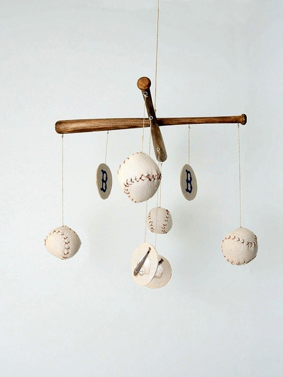 Baseball Nursery Mobile: Nurseries Mobiles, Boys Nurseries, Boys Rooms, Baby Boys, Hockey Sticks, Baby Rooms, Mobiles Vintage, Vintage Inspiration, Baseball Nurseries