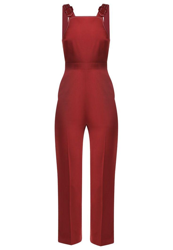 Topshop Ogrodniczki czerwone/bordowe materiałowe damskie rust
