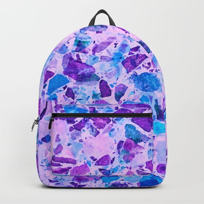 Buy Galactic Ultra Violet Terrazzo #ultraviolet #decor Backpack by Dominique Vari.   Buy Galactic Ultra Violet Terrazzo #ultraviolet #dec  I . Society6 . I #bags #backpack #schoolbag #galactic #terrazzo #marble #ultraviolet #pattern #dominiquevari #society6