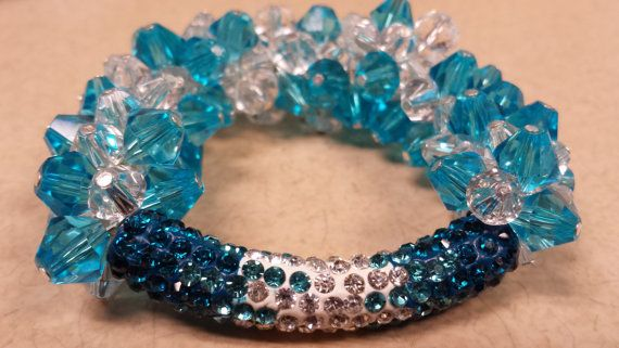 Blue/Clear Glass Beads, Rhinestone Shamballa Bracelet