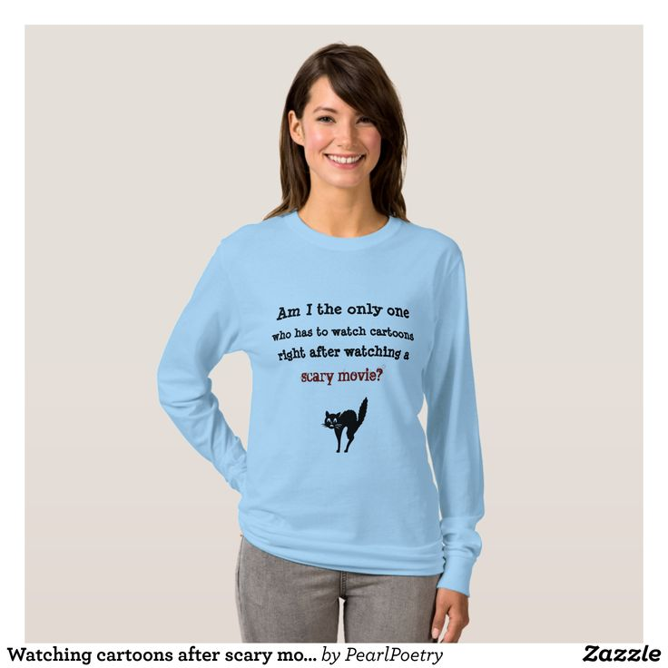 Watching cartoons after scary movie T-Shirt - Fashionable Women's Shirts By Creative Talented Graphic Designers - #shirts #tshirts #fashion #apparel #clothes #clothing #design #designer #fashiondesigner #style #trends #bargain #sale #shopping - Comfy casual and loose fitting long-sleeve heavyweight shirt is stylish and warm addition to anyone's wardrobe - This design is made from 6.0 oz pre-shrunk 100% cotton it wears well on anyone - The garment is double-needle stitched at the bottom and…