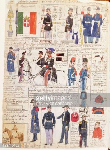 Stock Photo : Uniforms of the Italian Risorgimento, Color plate by Quinto Cenni