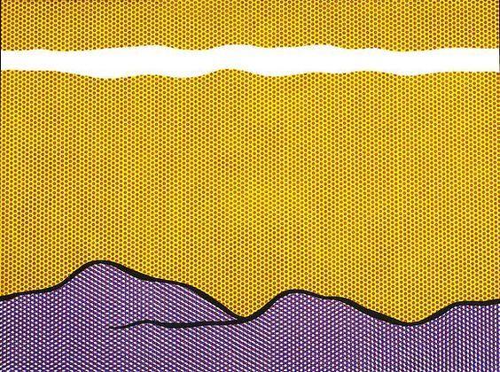 Roy LichtensteinPurple Range, 1966Oil and magna on canvas
