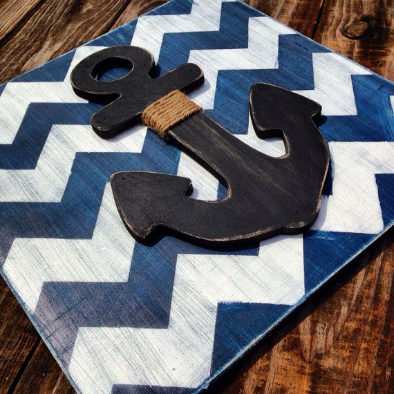18x18 chevron painted anchor plaque by kygracedesigns on Etsy, $38.00