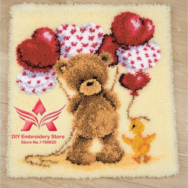 Find More Cushion Information about 3D Latch Hook Rug Kits DIY Needlework Unfinished Crocheting Rug Yarn Cushion Mat Ted with Heart Embroidery Carpet Rug Needlework,High Quality Cushion from DIY embroidery store on Aliexpress.com