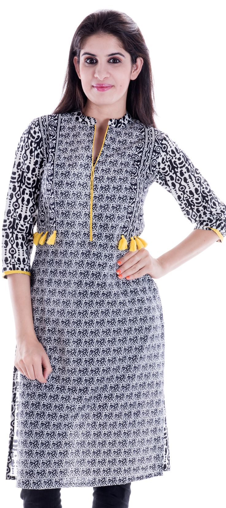 450664: Black and Grey color family stitched Printed Kurtis .