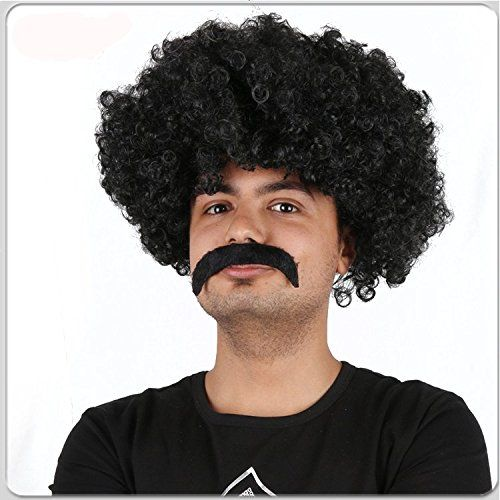 Afro Wig (Unisex) - Choose Style (Black or Brown) - #1 Afro Disco Hippie 60s 70s Wig  Brown or Black Afro Wig; Disco Afro; Hippie Afro - Perfect Halloween Wigs And Costume Wigs  Unisex Afro Wig; One Size Fits Most All; Afro Wig Brown or Black  Fits Kids, Teens & Adults; Mens or Womens Wig; Great Wigs For Costume Choices  Dark Brown or Black Halloween Wig; Costume Wig; Brown or Black Afro Wig Bob Ross  Great Retro, Disco, or Hippie Wig; Perfect for Mens Disco Costumes; Perfect for Women...
