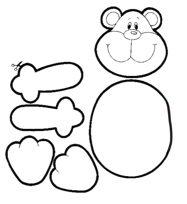 Knutselen: beer, beplakken met gescheurd sitzpapier