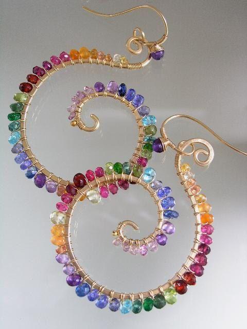 Regenbogen-Edelstein-Spiralen Nautilus Ohrringe von bellajewelsII