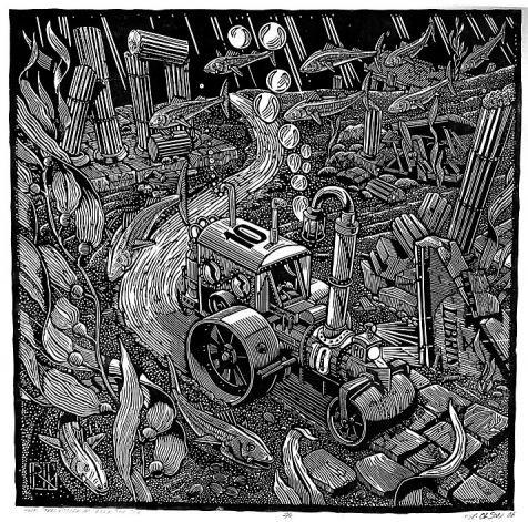 Steamroller Goes Under the Sea (2006) - Linocut by Rik Olson