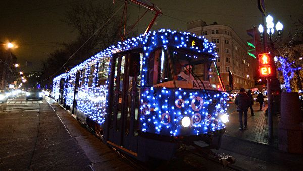 The Arrival of Moscow's Christmas Tram